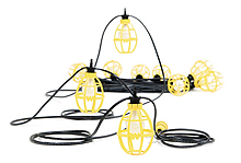 Woodhead 202SRL Pro-Yellow 150W Stringlight, 10 Sockets w/ Guards, 100ft (1301110023)